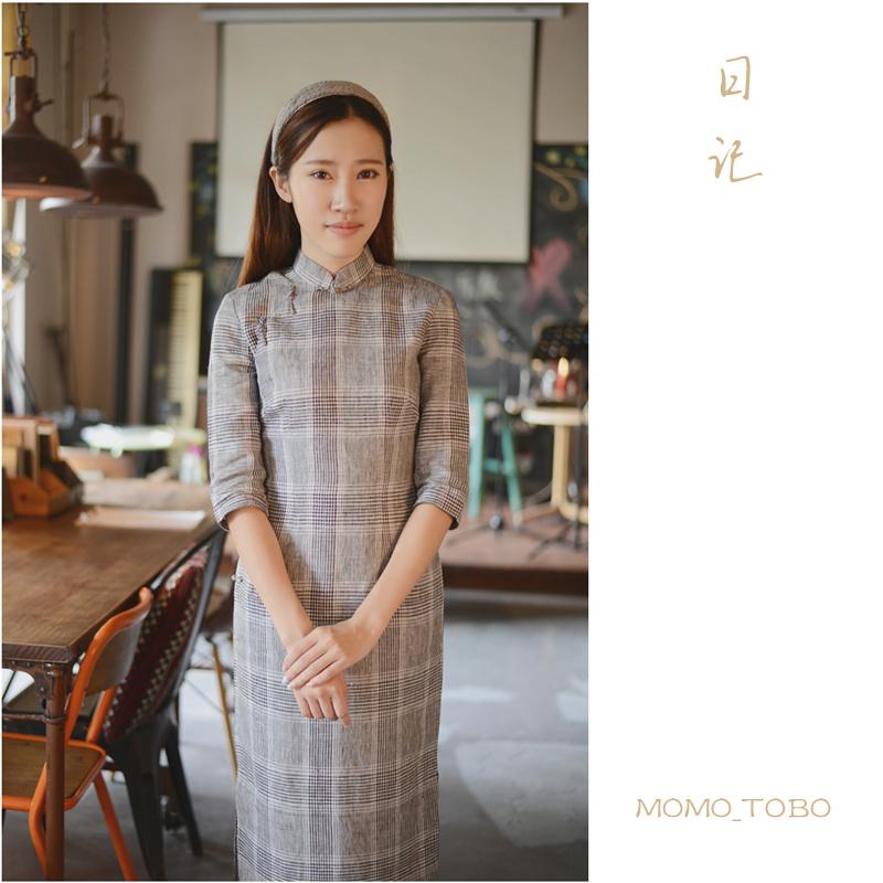 Momo cheongsam / September New flax sixth overall bust buckle sleeve dress - Diary - Black(China (Mainland))