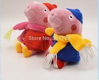 Free Shipping 2pcs/lot Pepa Winter scarf Pepe mom and dad George Plush Dolls