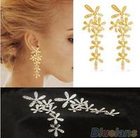 Women 2014 New Fashion Full Rhinestone Crystal Long Snowflake Flower Dangle Drop Tassel Earrings Gold Silver Sale