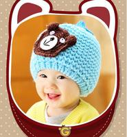 Korean Infant Caps Fashion Cartoon Bear Autumn Winter Hat Unisex Baby Thick Knitted Cap HT011