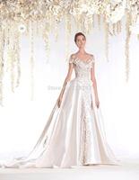 unique designer Vintage Appliqued off the shoulder muslim wedding dress With Bridal Gown for winter 2015 RR-060