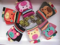 High quality  Thermal bear cartoon child semi-finger gloves cashmere thermal baby mitring