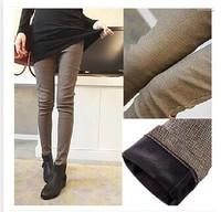 Plus Size S-XXL Fashion Formal Pants Winter Women thickened Boot Cut Pocket Jeans Plaid Sport Trousers Skinny Pencil Sweatpants