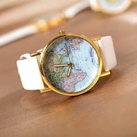 New Style Korea Luxury World Map Printing Unisex Quartz Watch Alloy Dial Leather Strap Watch Evening Dress Watch