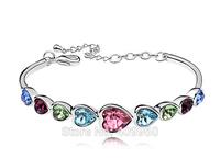 Vintage Fashion Classic Trendy Link Bracelets Rolo Chain Heart Crystal Bracelets Wedding Accessories For Bridal Women