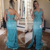Stunning Luxury Appliques Beading One Shoulder Elegant Long Prom Dresses with Side Slit Vestido De Festa Formal Evening Dress
