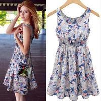2015 summer women dress new European style round neck casual dress sleeveless vest printed dress