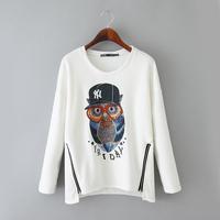 European Fashion Owl Pattern Girl Casual Hoodies with Double Zippers Long Sleeve O Neck Women Boutique Sweatshirts NAS8673