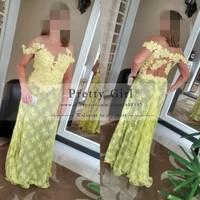 Custom Made Sexy Sheer Scoop with Short Sleeve Elegant Yellow Lace Long Prom Dresses 2015 vestido de renda Formal Evening Dress