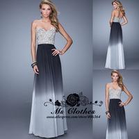Vestido Longo 2015 Lace Appliques A-Line Evening Dress Women Prom Dresses 2014 Hot Special Occasion Party Dresses