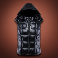 2015 New Winter Men Pu leather armor Dwon hoodie army Vest/Men military Leather down waistcoat removable hoodied coat vest