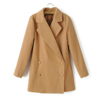 spring women wool coat double breasted without hooded pea coat,women long coat cape poncho,manteau hiver femme,