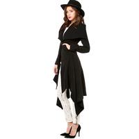 European Style Women Fashion Hot Sale Hem Dovetail Lapel Pocket Slim Warm Long Woolen Coat  New Style Women Coat Six Size D668