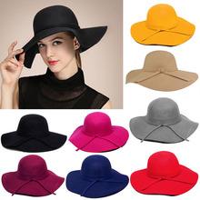 S501 HOT NEW British Vogue Cute Ladies Womens Wool Vintage Wide Brim Bowler Fedora Floppy Cloche Belt Hats Caps Red Blue Black(China (Mainland))