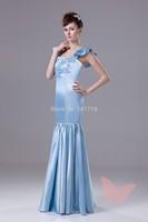 Blue long sexy prom dress.