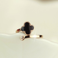 18KGP Rose Gold Plated Titanium Steel Clover Open Rings Fashion Brand Jewelry for Women Free Shipping (GR016)