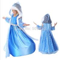Retail 2014 Chirdren Frozen Dress, Kids party dress, Animated cartoon dress, baby girls frozen dress with Cloak  free shipping