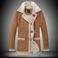 New 2015 Winter Mens Fur Collar Thickening Windbreak Trench jaqueta de couro masculina Men's Leather Coat Asian Size M-3XL 311