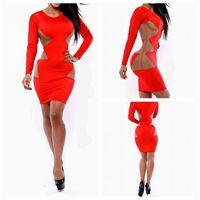 New Vestidos Do Festa Casual Dress 2015 Red Long Sleeve Women Clothing Dress Mash Patchwork Waist Sexy Party Bandage Dress