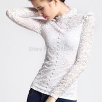 2015 New Spring Autumn European Style Fashion Women Cutout Sexy Lace Stand Ruffle Collar Button Black White Slim Basic Shirt Top