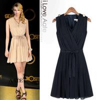 Summer 2015 women dress high-end chiffon casual dress pleated boutique dress