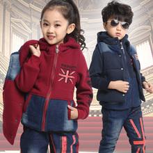 Children's clothing winter 2014 male female child plus velvet thickening sweatshirt piece set child baby set(China (Mainland))
