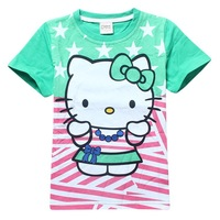 Hot Sell New Arrival Girl Summer T Shirt Hello Kitty Printed Children Cartoon Top For Girls Cotton Casual Kids Clothes Wholesale