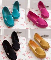 Autumn casual flat heel Moccasins black work shoes lazy single shoes women's flats plus size 36-40