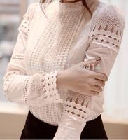 2015 New blouse women Lace Decorate Blouse Retro shirt women Ladies Tops Woman Clothes Women Shirt Lace Blouses