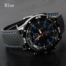 Popular Mens Silicon Sports Wrist Watch Fashion Mens Racer Sports Military Pilot Aviator Army Style Unisex 6 Colors Watch Free