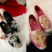 Fashion Womens Genuine Leather Sheepskin Black Gold Hot Pink Rhinestone Pearl Flat Shoes Loafers Espadrilles Tb0419