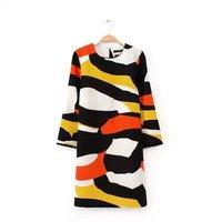2015 New European women colorful graffiti print casual Dress WD0559