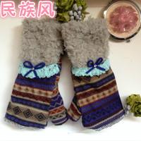 Hot sell winter  Women  velvet cotton gloves  furry bow thermal gloves Half-finger Gloves ladies' gloves semi-fingerS