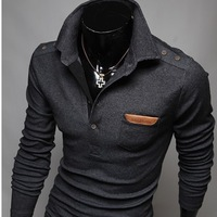 2015 Rushed New Retro Decorative Buttons Veneer Chest Korean Men Cultivating Long-sleeved Polo Man Sweater Mens Pullovers M~xxl