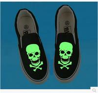 Hot glow color canvas shoes men skull shoes women fashion shoes size 35-43