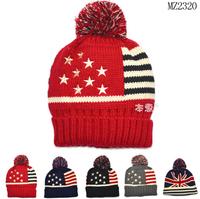 2014 Small stars striped Children Knitted Hats boy girls Winter crochet Hat Kids Earflap Cap 1-4 Years Old