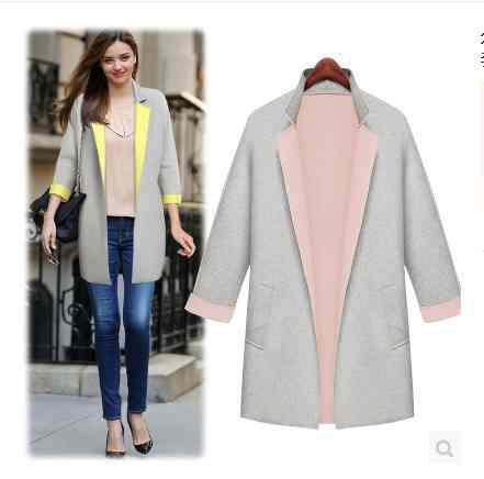 Free Shipping 2014 fashion Joker loose new light grey collar jacket coat 20141247482(China (Mainland))