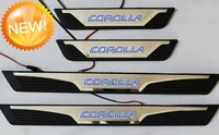 Free shipping new Stainless Steel aluminous Door Sill Scuff Plate threshold sticker blue LED light For Toyota corolla Altis 2014