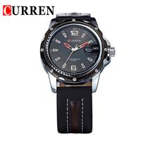 NEW CURREN Male Clock Hours Hand Date Leather Strap Men's Waterproof Digital Sport Watches Casual  Reloj