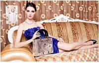 2015 New Upsclae Hollow-out Diana Bag Panelled Black\Gold\Silver Elegant Handbag For Ladies Casual Shoulder Bag 650e