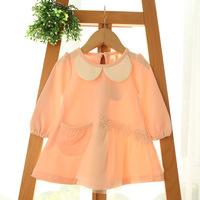 2015 New baby girls princess dress children long sleeve dress lace pocket 4 colors 5 pcs/lot wholesale 2019