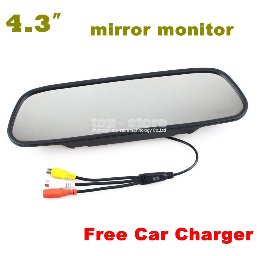 "4.3"" TFT LCD Color Monitor Auto Reverse Rear View Mirror Car Backup DVD Vehicles Camera Wholesale + Free Car Charger(China (Mainland))"