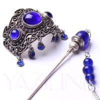 Tibet silver blue lapis lazuli ponytail pin barrette tassel hair slide clip