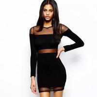 2015 new summer women dress sexy gauze waist hem stitching Slim Bra-style dress