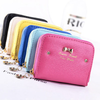 New Fashion Women Wallets Short Girls' Clutch Coin Purse Soft PU Leather Lady Bow Wallet Money Bag Cards Holder Free Shipping