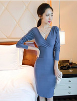 New arrival 2015 women spring autumn dinner dress vintage deep v-neck long sleeve elegant Slim evening dresses brand clothing