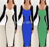 Free hkpost 2015 Women Autumn Elegant Vintage Long Sleeve Stretch Peplum Office Wear To Work Party Pencil Sheath Dress 015
