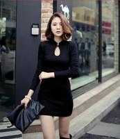 High quality 2015 women spring autumn casual dress vintage basic long sleeve cotton was thin Slim Female black dresses clothing
