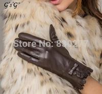 GSG   Ms.   Short paragraph bow sheepskin gloves     IGSSFW12104