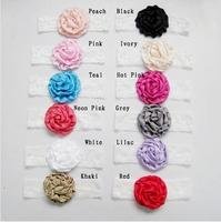 Freeshipping 12set/lot 3.15'' Satin Rolled Rosettes fascinating poof flower shimmery elastic headband